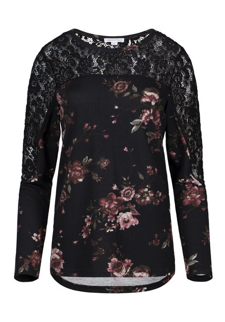 Women's Dark Floral Lace Insert Top
