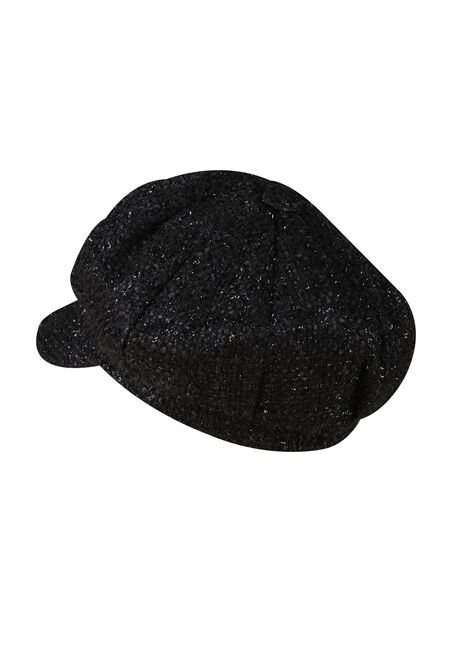 Ladies' Metallic Newsboy Hat, BLACK, hi-res