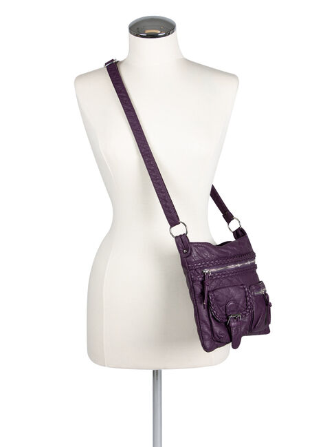 Ladies' Braided Trim Cross Body Bag, PURPLE, hi-res
