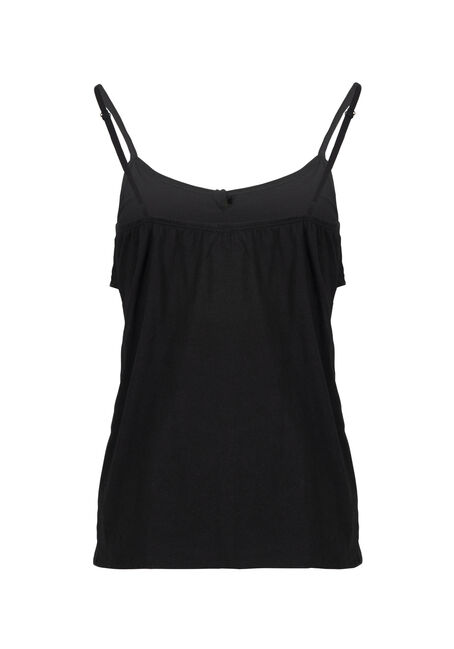 Women's Knot Front Ruffle Tank, BLACK, hi-res