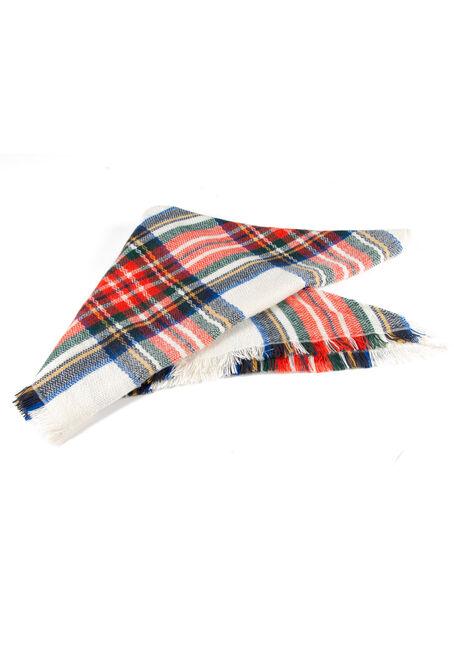 Women's Plaid Blanket Scarf, ORANGE, hi-res