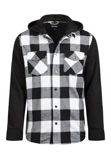 Men's Hooded Plaid Shirt Jacket, BLK/WHT, hi-res