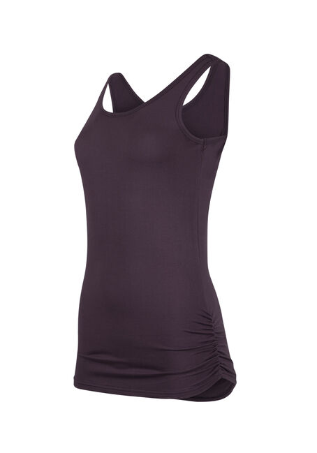 Ladies' Super Soft Ruched Side Tank, PASS. PURPLE, hi-res