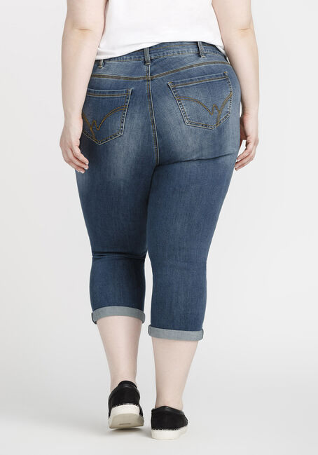 Women's Plus Size High Rise Cuffed Capri, MEDIUM WASH, hi-res