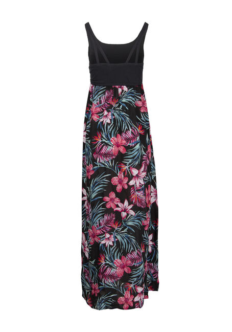 Women's Tropical Flower Maxi Dress, BLACK, hi-res