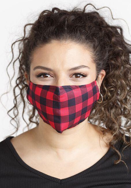 Plaid Face Mask, RED, hi-res