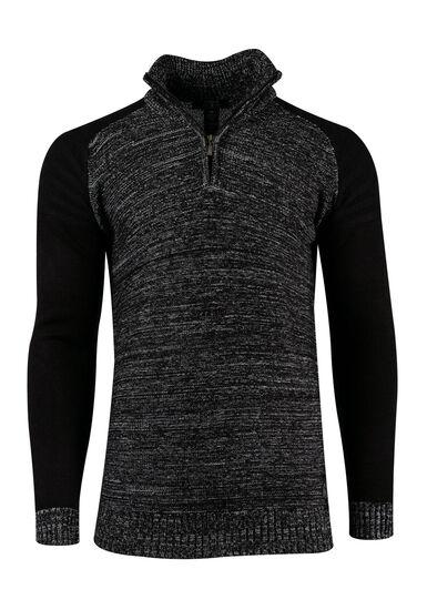 Men's Raglan Sweater, BLACK, hi-res