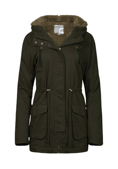 Women's Sherpa Lined Anorak, OLIVE, hi-res
