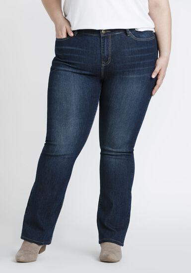 Women's Plus Size Dark Wash Baby Boot Jeans, DARK WASH, hi-res