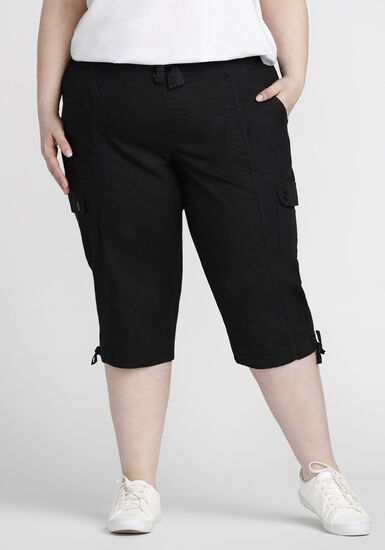 Women's Plus Size Cargo Capri, BLACK, hi-res