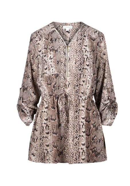 Women's Animal Print Zip Front Blouse
