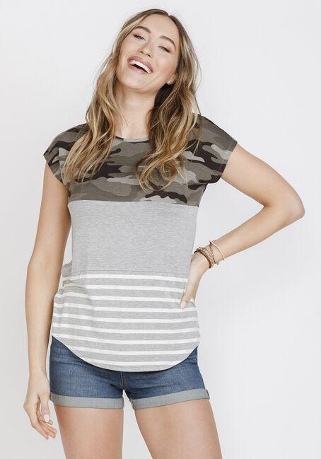 Women's Camo Stripe Colour Block Top, OLIVE, hi-res
