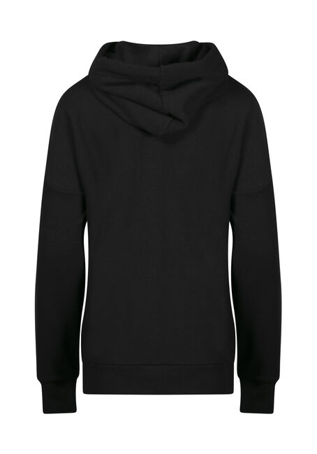 Women's Oversized Popover Hoodie, BLACK, hi-res