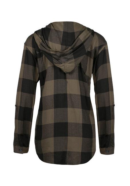 Ladies' Hooded Plaid Boyfriend Shirt, MILITARY, hi-res