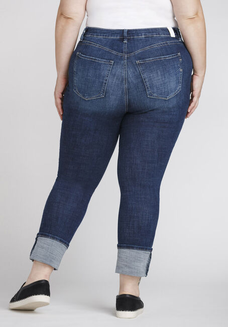 Women's Plus Size High Rise Skinny Jeans, DARK WASH, hi-res