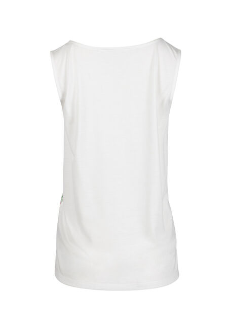 Women's Tropical Flower Tank, WHITE, hi-res