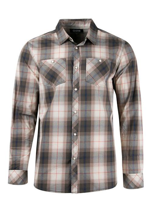 Men's Relaxed Plaid Shirt, NATURAL, hi-res
