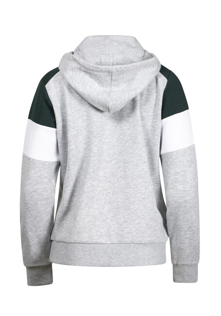 Women's Colorblock Hoodie, HEATHER GREY/HUNT, hi-res