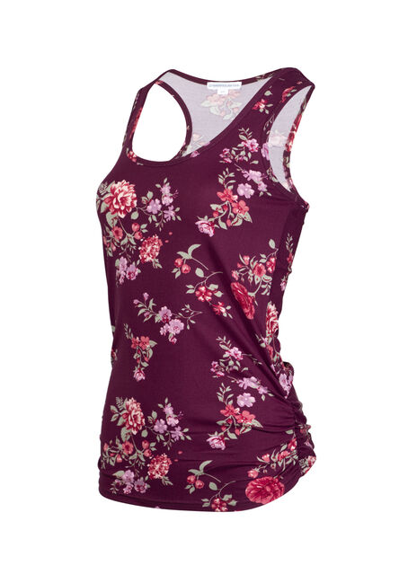 Women's Floral Super Soft Tank, BURGUNDY, hi-res