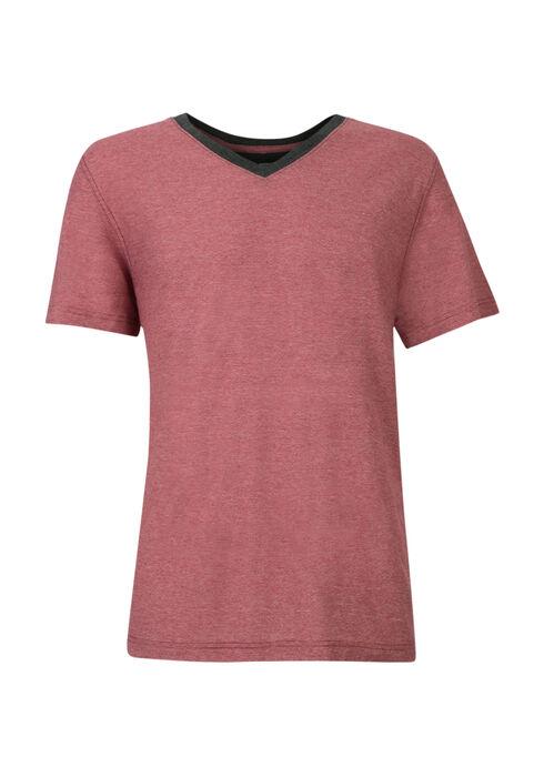 Men's Mini Stripe V-Neck Tee, DARK RED, hi-res