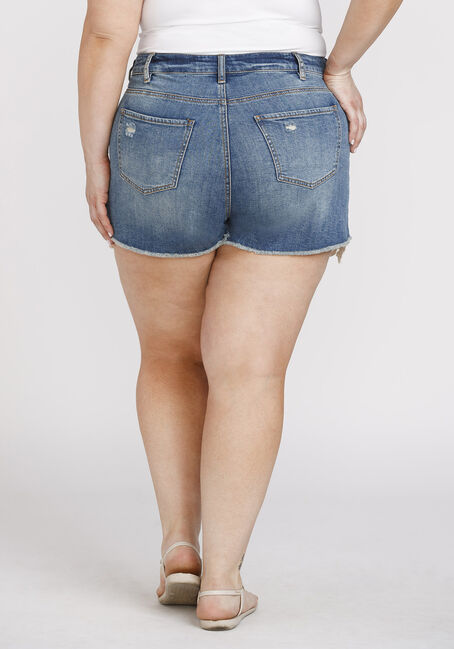 Women's Plus Size High Rise Crochet Hem Short, MEDIUM WASH, hi-res