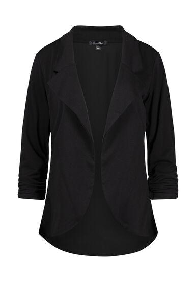 Women's Chiffon Back Blazer, BLACK, hi-res
