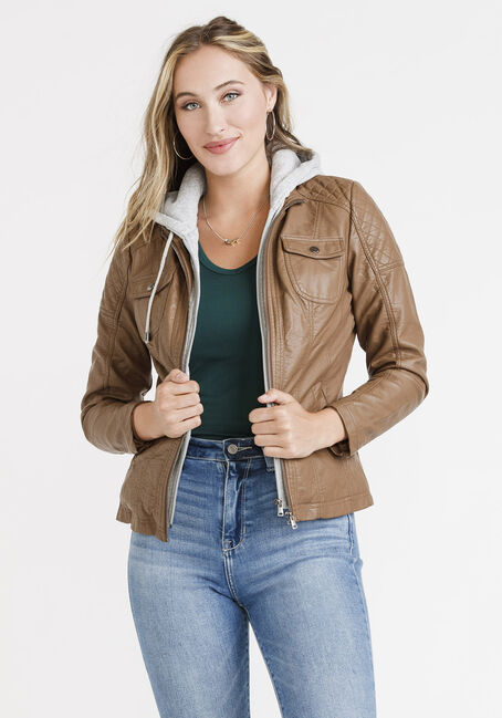 Women's Hooded Moto Jacket, BROWN, hi-res