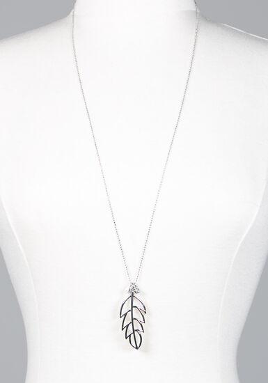 Women's Long Leaf Necklace, SILVER, hi-res