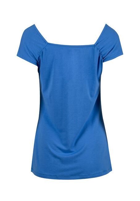 Women's Ruched V-neck Tee, ISLAND BLUE, hi-res