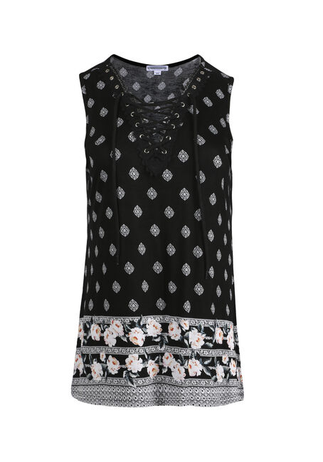 Women's Floral Lace Up Tank