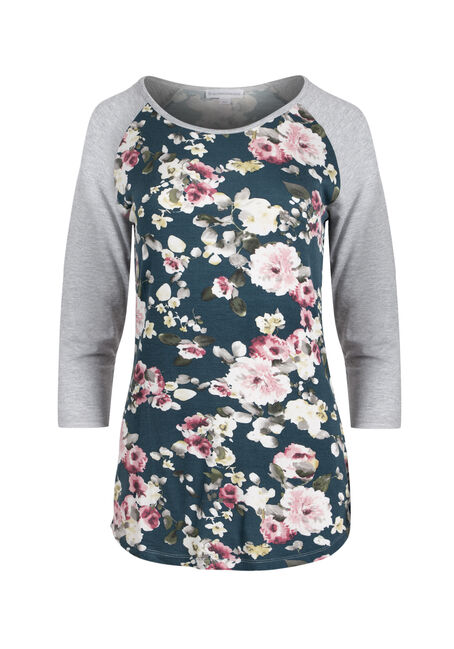 Ladies' Floral Baseball Tee