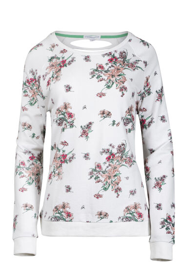 Women's Floral Shredded Back Fleece, WHITE, hi-res