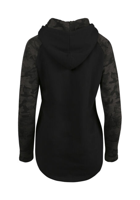 Ladies' Camo Baseball Hoodie, BLACK, hi-res
