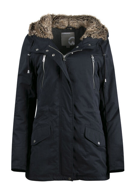 Ladies' Plush Lined Hooded Parka