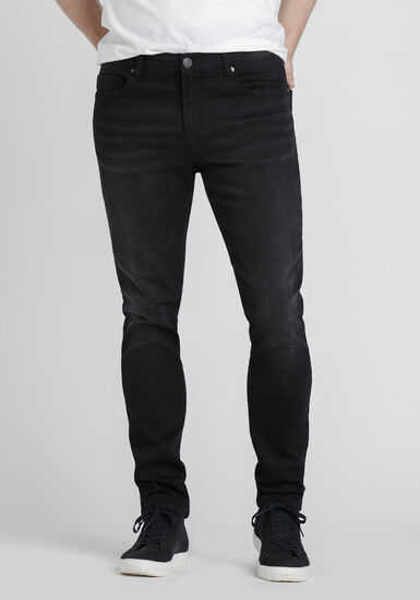 Men's Washed Black Skinny Jeans, BLACK, hi-res