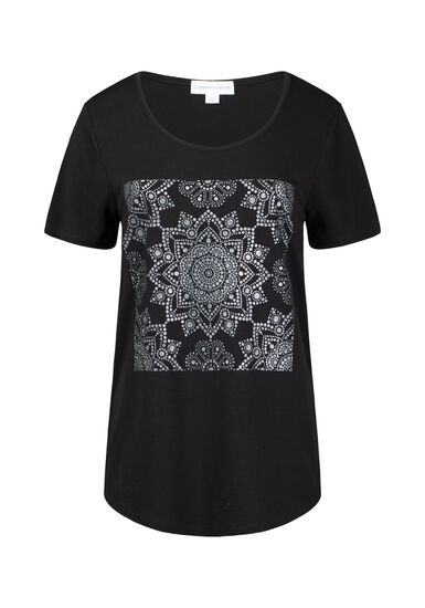 Women's Shimmer Mandala Scoop Neck Tee, BLACK, hi-res