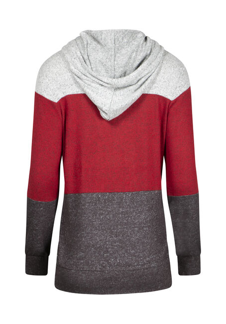 Women's Color Block Hoodie, RED/BLACK, hi-res