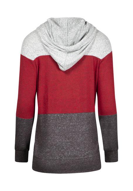 Women's Color Block Hoodie, RED/BLACK, hi-res