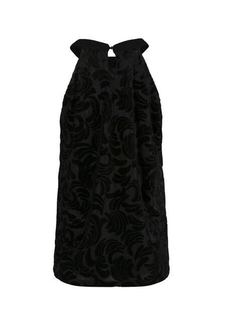 Women's Floral Velvet Tank, BLACK, hi-res