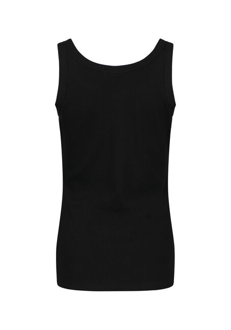 Women's Rib Knit Tank Top, BLACK, hi-res
