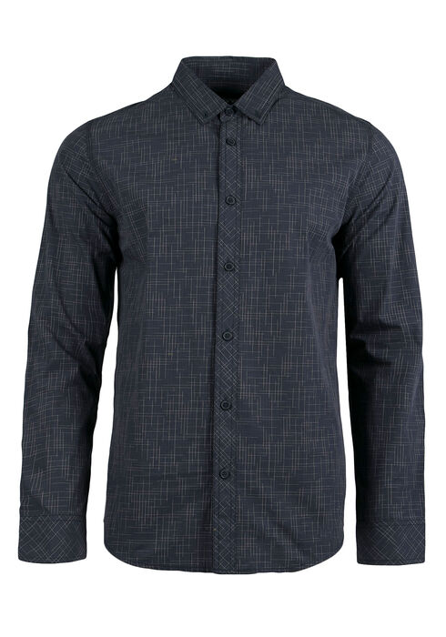 Men's Linear Pattern Shirt, NAVY, hi-res