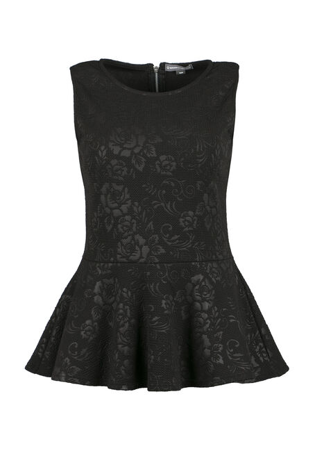 Ladies' Embossed Floral Peplum Top