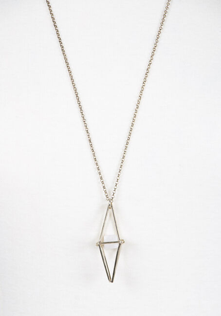 Ladies' Geometric Pendant Necklace, GOLD, hi-res