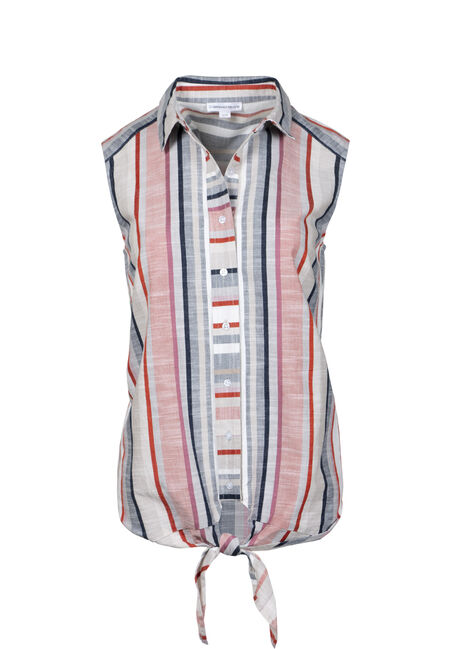 Women's Stripe Tie Front Shirt