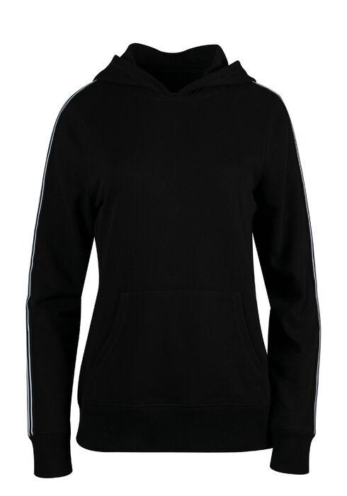 Women's Stripe Sleeve Hoodie, BLACK, hi-res