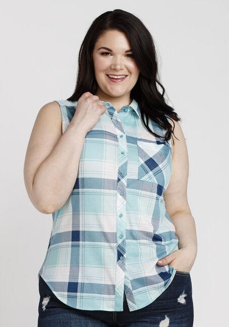 Women's Sleeveless Knit Plaid Shirt, TEAL, hi-res
