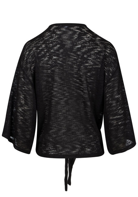 Womens' Tie Front Cardigan, BLACK, hi-res