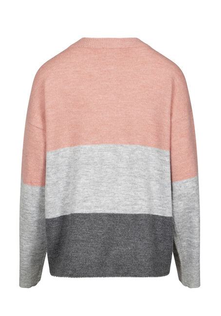 Women's Colour Block Sweater, DUSTY PINK, hi-res