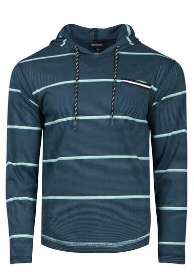 Men's Mini Stripe Hooded Tee, TRUE NAVY, hi-res