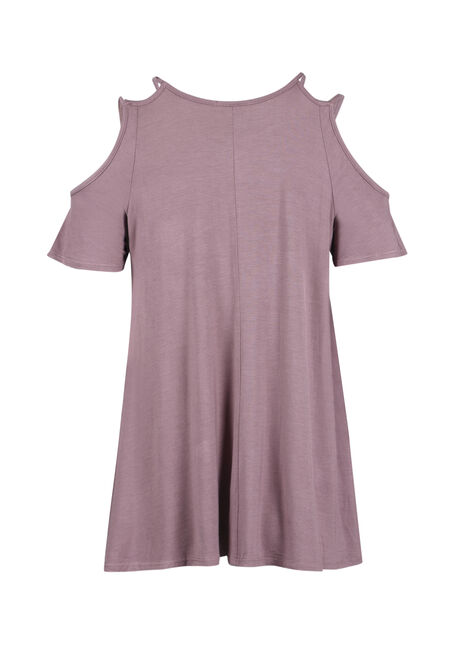 Ladies' Strappy Cold Shoulder, DUSTY PURPLE, hi-res